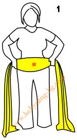 Връзване на слинг-шал, Основен възел, стъпка 1