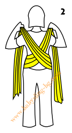 Връзване на слинг-шал, Основен възел, стъпка 2