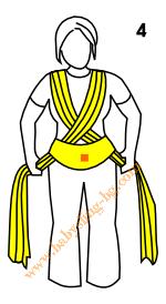Връзване на слинг-шал, Основен възел, стъпка 4
