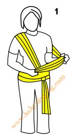 Връзване на слинг-шал, поза Люлка, стъпка 1