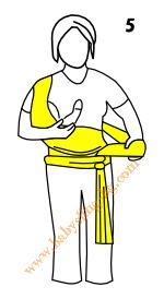 Връзване на слинг-шал, поза Люлка, стъпка 5