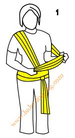 Връзване на слинг-шал, поза Кенгуру, стъпка 1