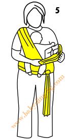 Връзване на слинг-шал, поза Кенгуру, стъпка 5