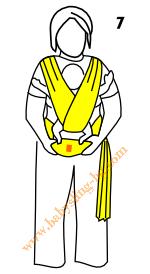 Връзване на слинг-шал, поза Кенгуру, стъпка 7