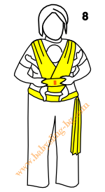 Връзване на слинг-шал, поза Кенгуру, стъпка 8