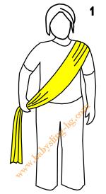 Връзване на слинг-шал, поза Хълбок, стъпка 1