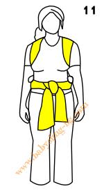 Връзване на слинг-шал, поза На гръб, стъпка 11