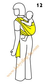 Връзване на слинг-шал, поза На гръб, стъпка 12