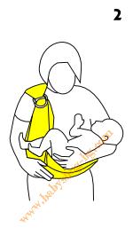 Инструкции за слинг с халки, поза Люлка, стъпка 2