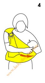 Инструкции за слинг с халки, поза Люлка, стъпка 4