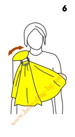 Инструкции за слинг с халки, поза Люлка, стъпка 6