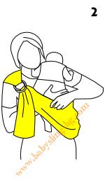 Инструкции за слинг с халки, поза Кенгуру, стъпка 2