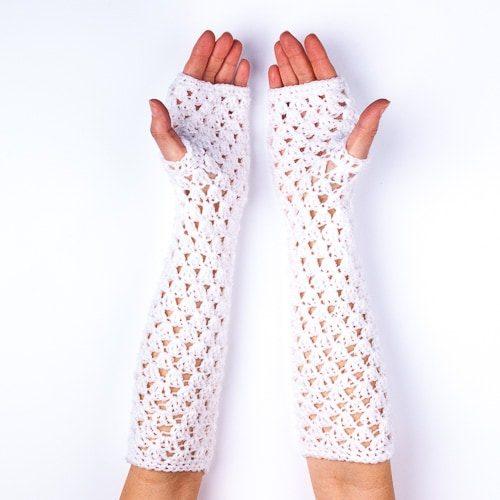 Ръкавици дълги бели