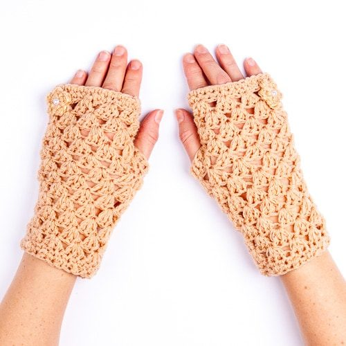 Ръкавици дантелени бежови