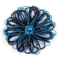 Брошка - синьо с черно